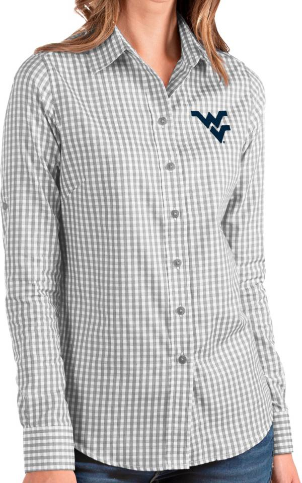 Antigua Women's West Virginia Mountaineers Grey Structure Button Down Long Sleeve Shirt product image