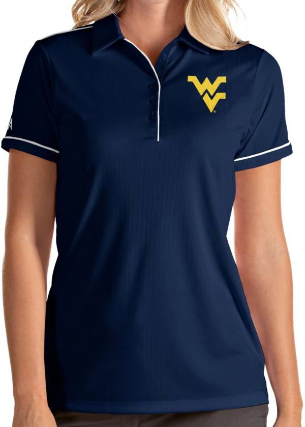 Antigua Women's West Virginia Mountaineers Blue Salute Performance Polo product image