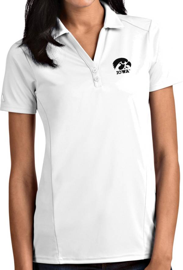 Antigua Women's Iowa Hawkeyes Tribute Performance White Polo product image