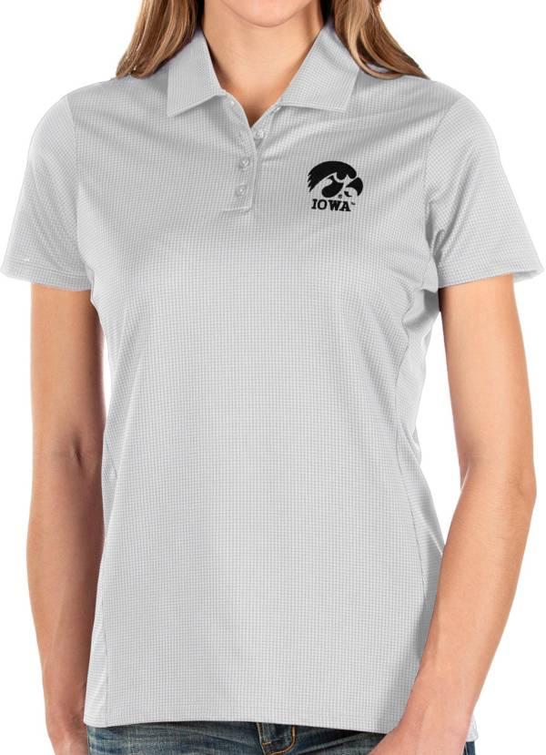 Antigua Women's Iowa Hawkeyes Balance White Polo product image
