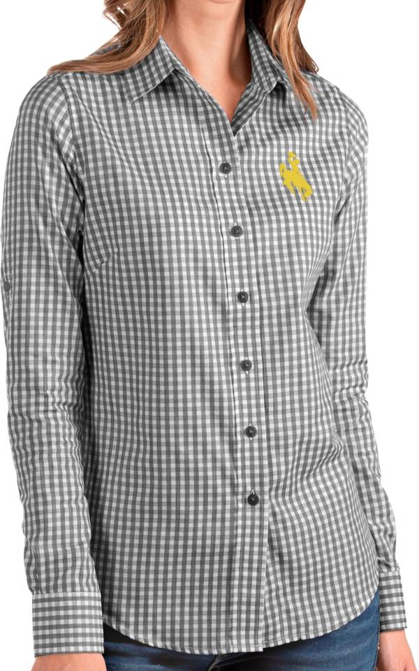 Antigua Women's Wyoming Cowboys Structure Button Down Long Sleeve Black Shirt product image