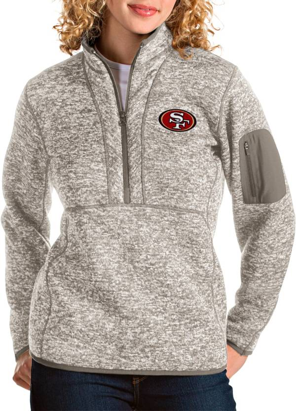Antigua Women's San Francisco 49ers Fortune Quarter-Zip Oatmeal Pullover product image
