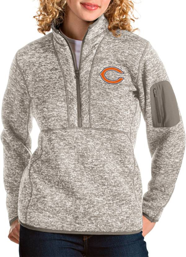 Antigua Women's Chicago Bears Fortune Quarter-Zip Oatmeal Pullover product image