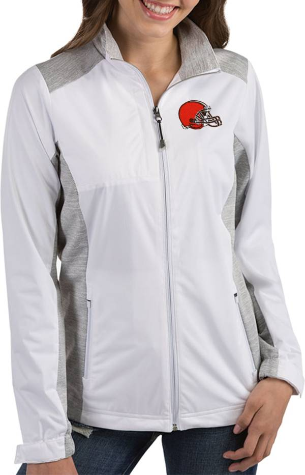 Antigua Women's Cleveland Browns Revolve White Full-Zip Jacket product image