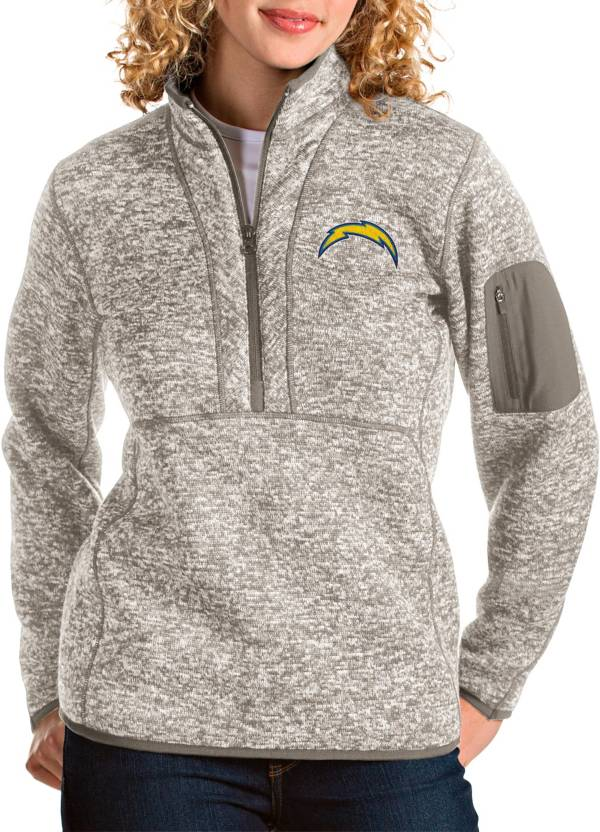 Antigua Women's Los Angeles Chargers Fortune Quarter-Zip Oatmeal Pullover product image