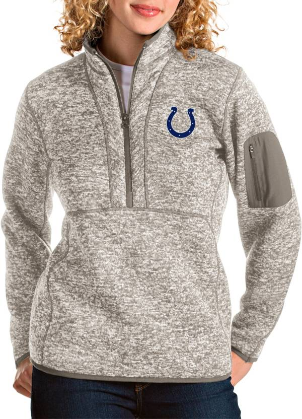 Antigua Women's Indianapolis Colts Fortune Quarter-Zip Oatmeal Pullover product image