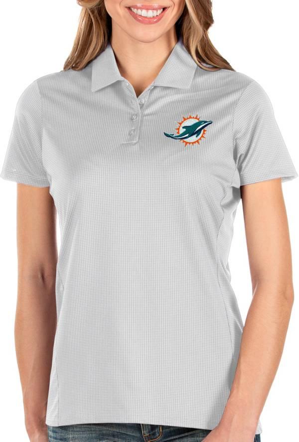 Antigua Women's Miami Dolphins Balance White Polo product image