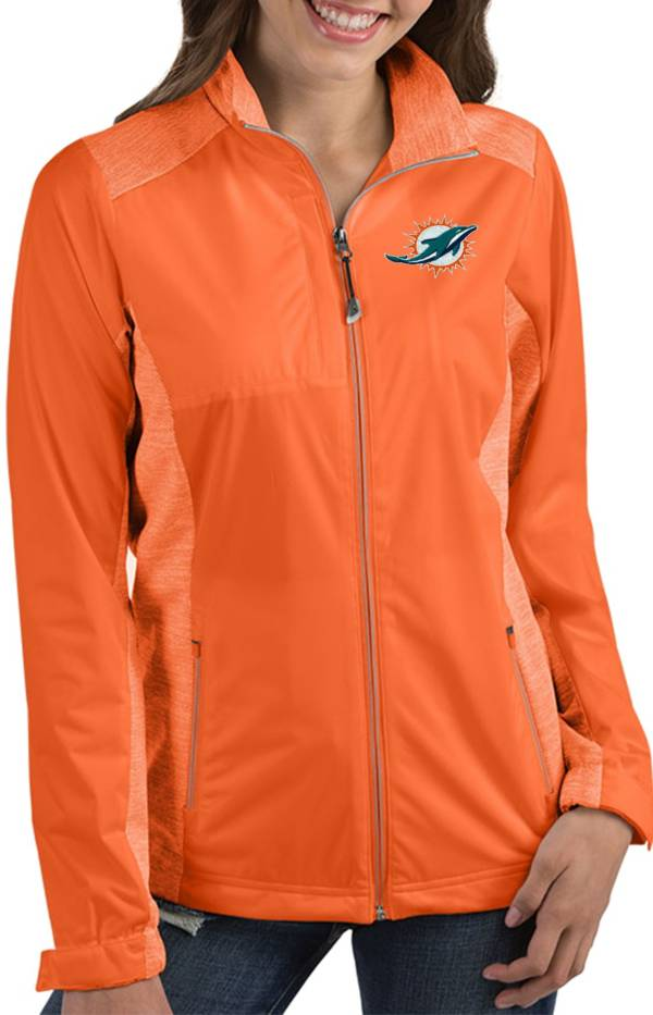 Antigua Women's Miami Dolphins Revolve Orange Full-Zip Jacket product image
