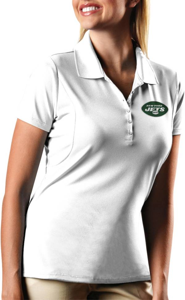 Antigua Women's New York Jets Pique Xtra-Lite Performance White Polo product image