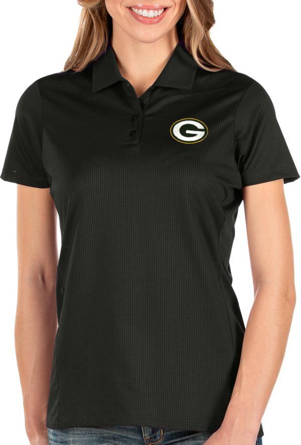 Antigua Women's Green Bay Packers Balance Black Polo product image