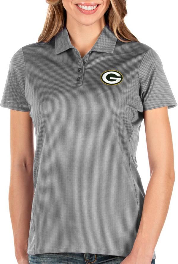 Antigua Women's Green Bay Packers Balance Grey Polo product image