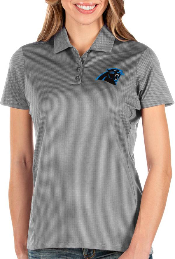Antigua Women's Carolina Panthers Balance Grey Polo product image