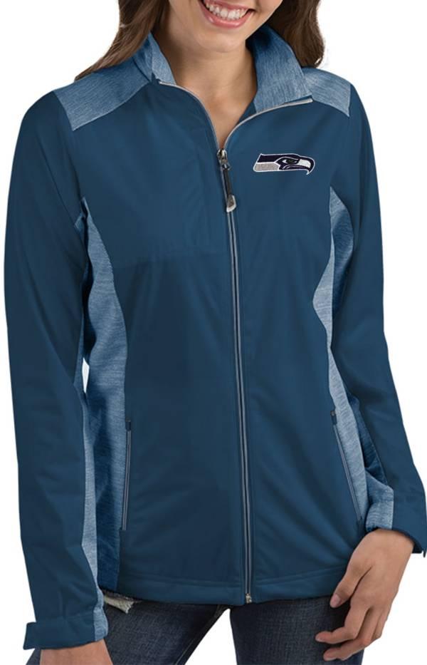 Antigua Women's Seattle Seahawks Revolve Navy Full-Zip Jacket product image