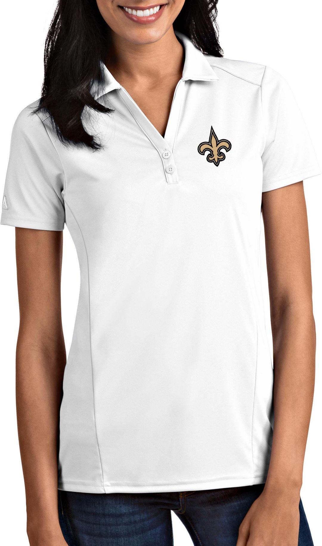 7f546332 Antigua Women's New Orleans Saints Tribute White Polo