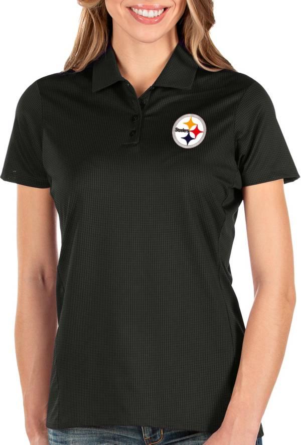 Antigua Women's Pittsburgh Steelers Balance Black Polo product image