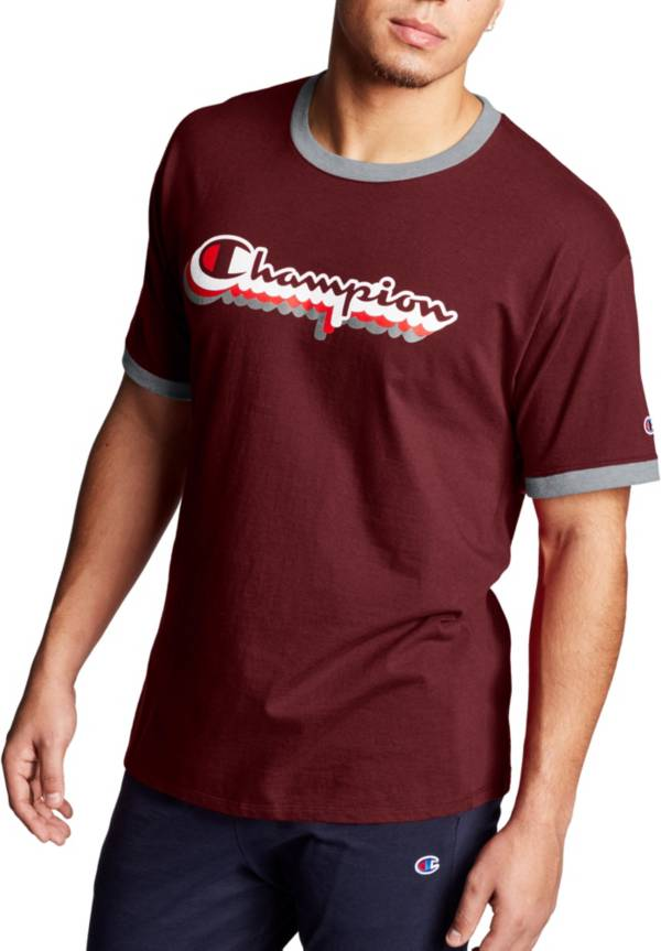 Champion Men's Classic Jersey Ringer Multi-Color Shadow Logo Graphic T-Shirt product image
