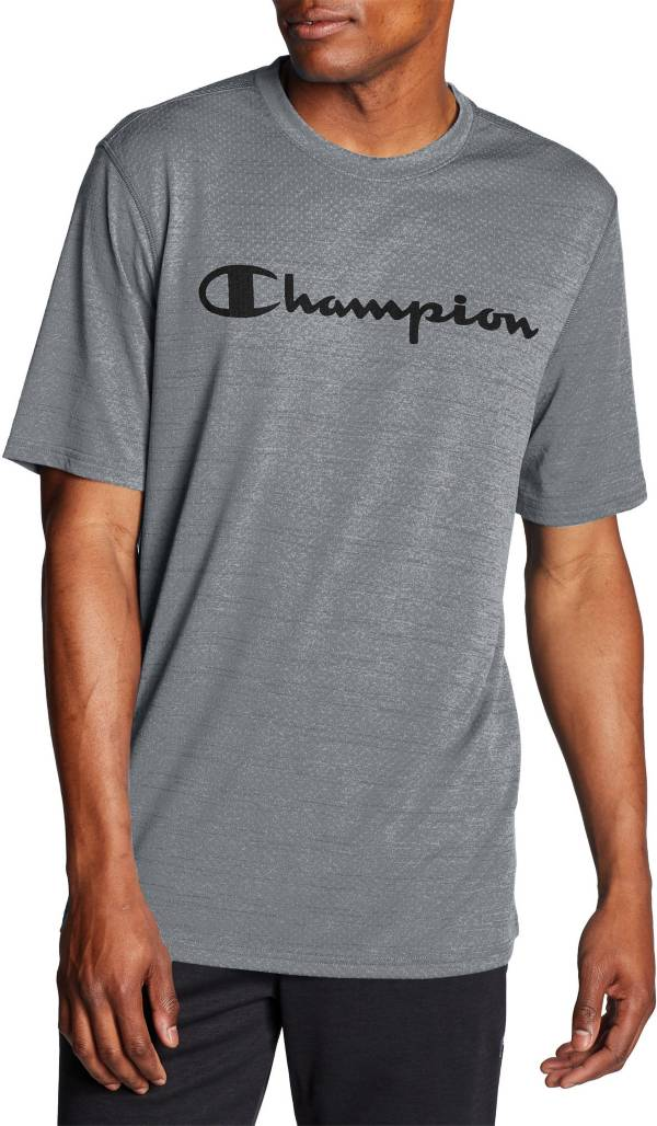 Champion Men's Double Dry Heather Mesh Textured Script Logo T-Shirt product image