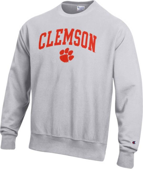 Champion Men's Clemson Tigers Grey Reverse Weave Crew Sweatshirt product image