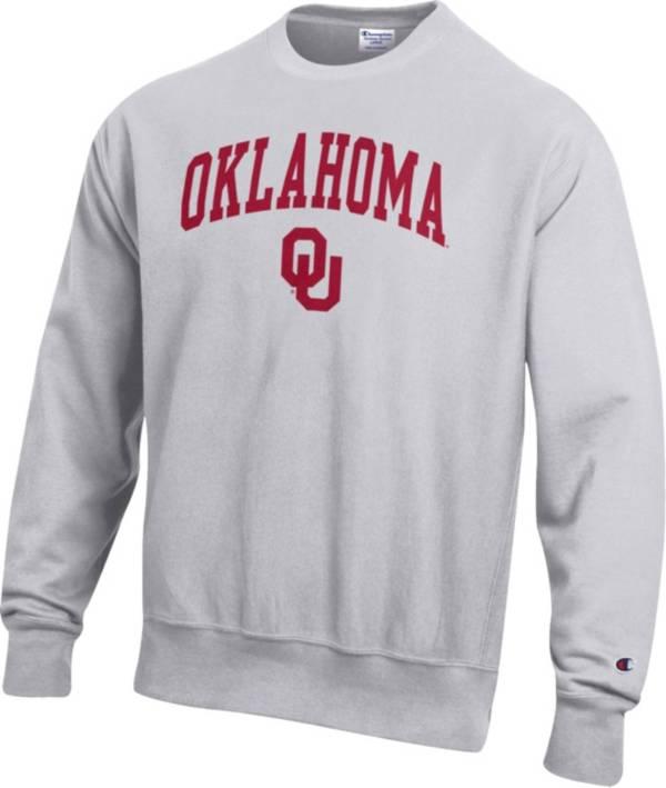 Champion Men's Oklahoma Sooners Grey Reverse Weave Crew Sweatshirt product image