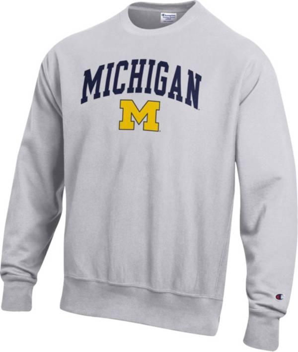 Champion Men's Michigan Wolverines Grey Reverse Weave Crew Sweatshirt product image