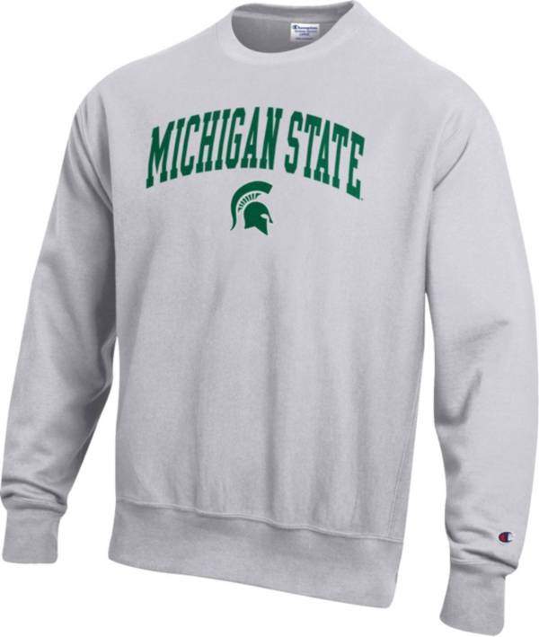 Champion Men's Michigan State Spartans Grey Reverse Weave Crew Sweatshirt product image