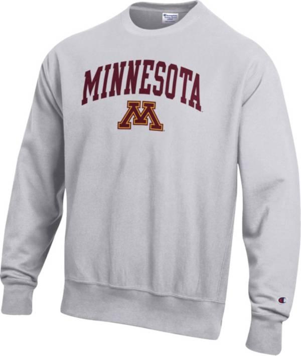 Champion Men's Minnesota Golden Gophers Grey Reverse Weave Crew Sweatshirt product image