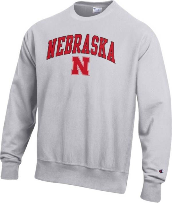 Champion Men's Nebraska Cornhuskers Grey Reverse Weave Crew Sweatshirt product image