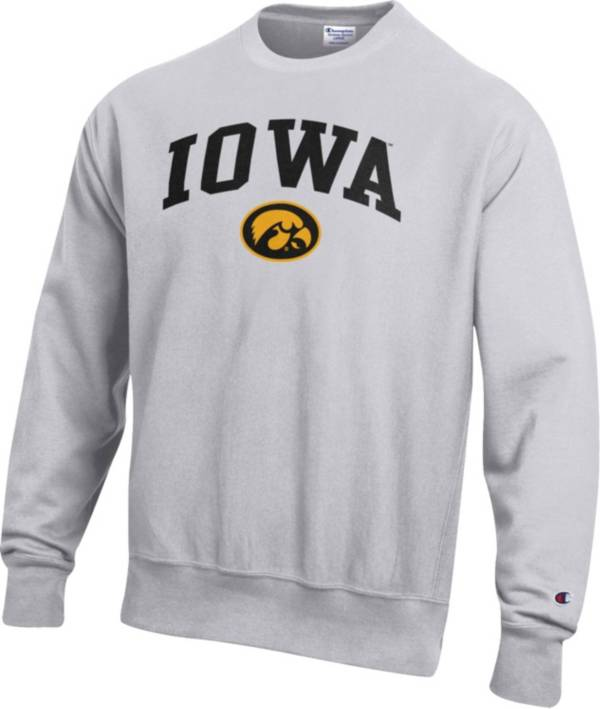 Champion Men's Iowa Hawkeyes Grey Reverse Weave Crew Sweatshirt product image