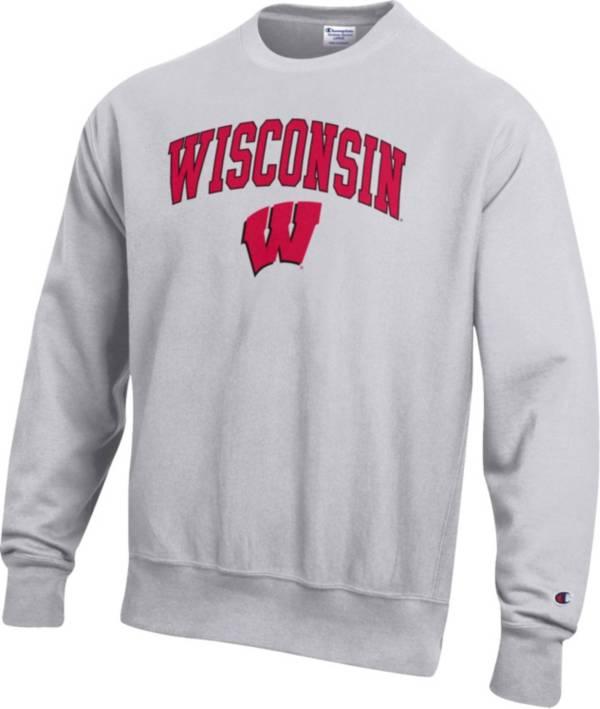Champion Men's Wisconsin Badgers Grey Reverse Weave Crew Sweatshirt product image