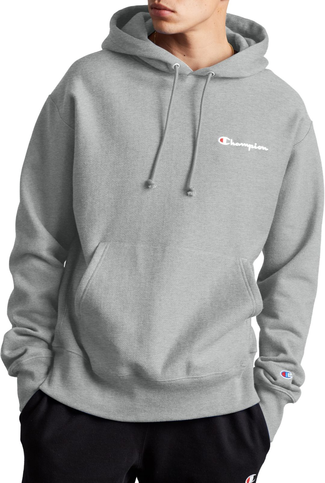 uk availability 1cdff 1a19a Champion Life Men's Reverse Weave Script Logo Pullover Hoodie