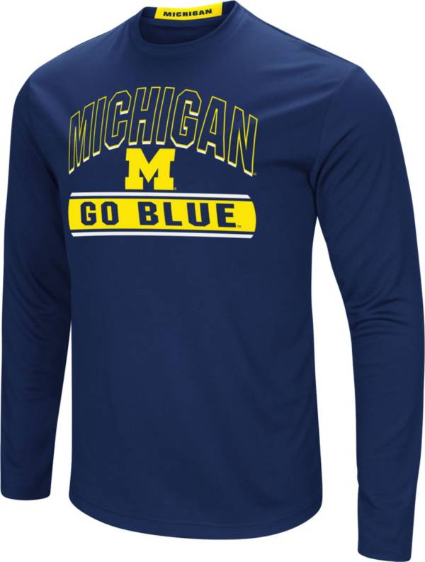 Colosseum Men's Michigan Wolverines Blue Ganges Long Sleeve T-Shirt product image