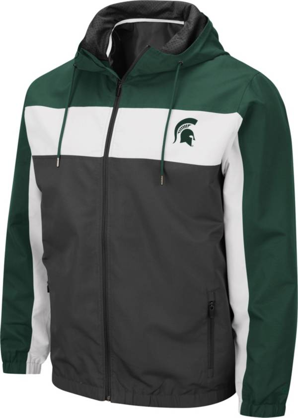 Colosseum Men's Michigan State Spartans Grey Brockman Full-Zip Jacket product image