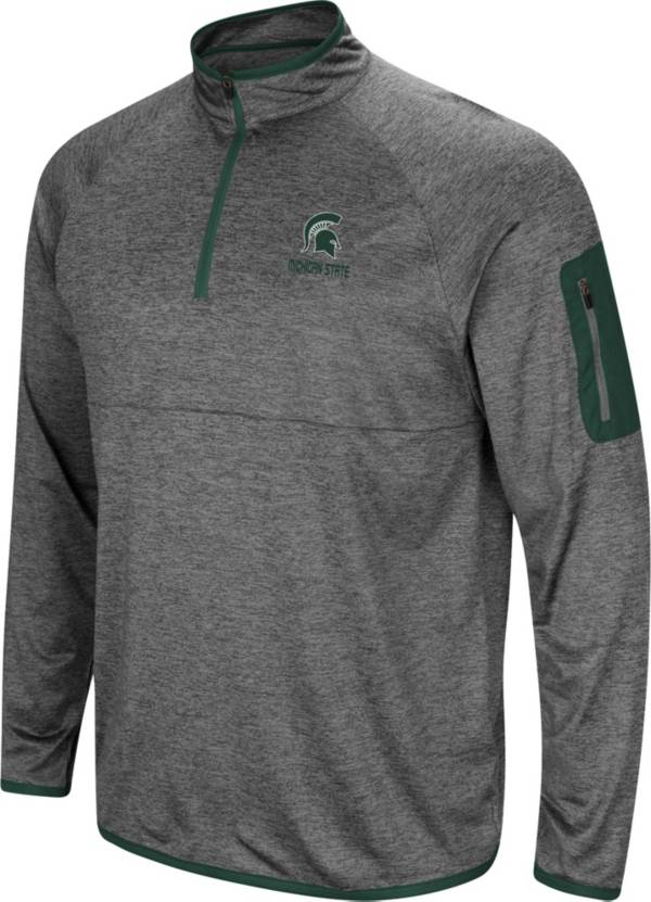Colosseum Men's Michigan State Spartans Grey Indus River Quarter-Zip Pullover Shirt product image