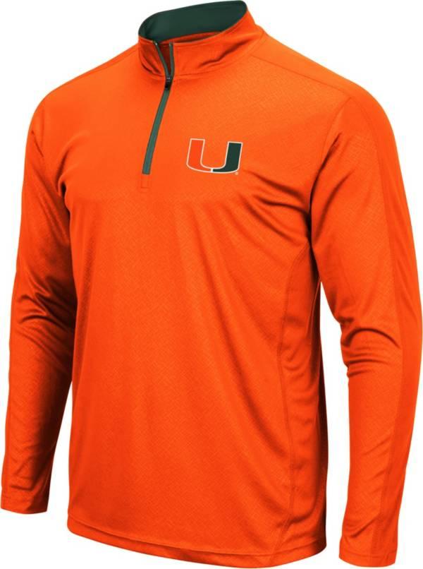 Colosseum Men's Miami Hurricanes Orange Loggerhead Quarter-Zip Pullover Shirt product image