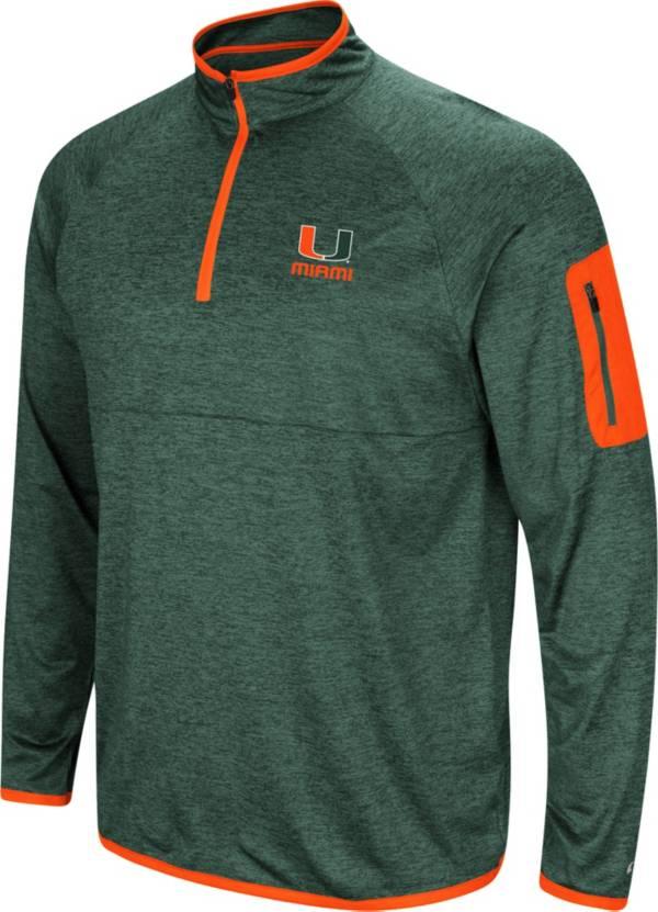Colosseum Men's Miami Hurricanes Green Indus River Quarter-Zip Shirt product image