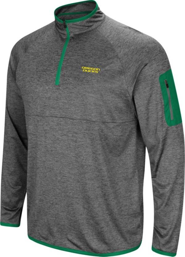 Colosseum Men's Oregon Ducks Grey Indus River Quarter-Zip Pullover Shirt product image