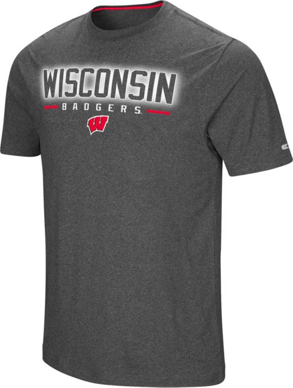 Colosseum Men's Wisconsin Badgers Grey Bluefin T-Shirt product image