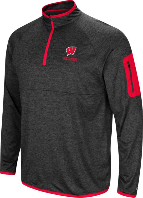 Colosseum Men's Wisconsin Badgers Grey Indus River Quarter-Zip Pullover Shirt product image