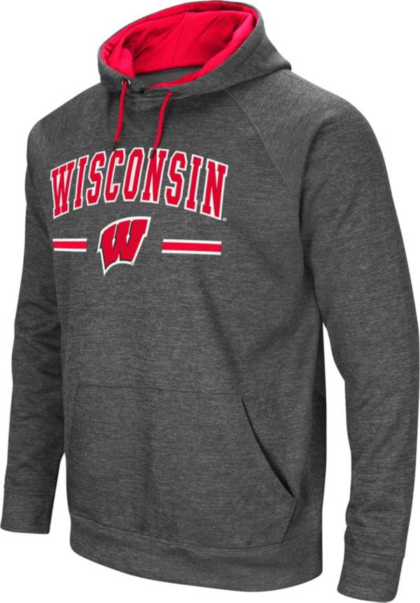 Colosseum Men's Wisconsin Badgers Grey Pullover Hoodie product image