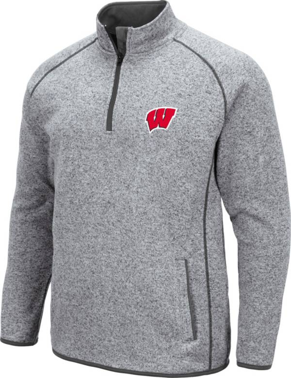 Colosseum Men's Wisconsin Badgers Grey Amur Quarter-Zip Shirt product image