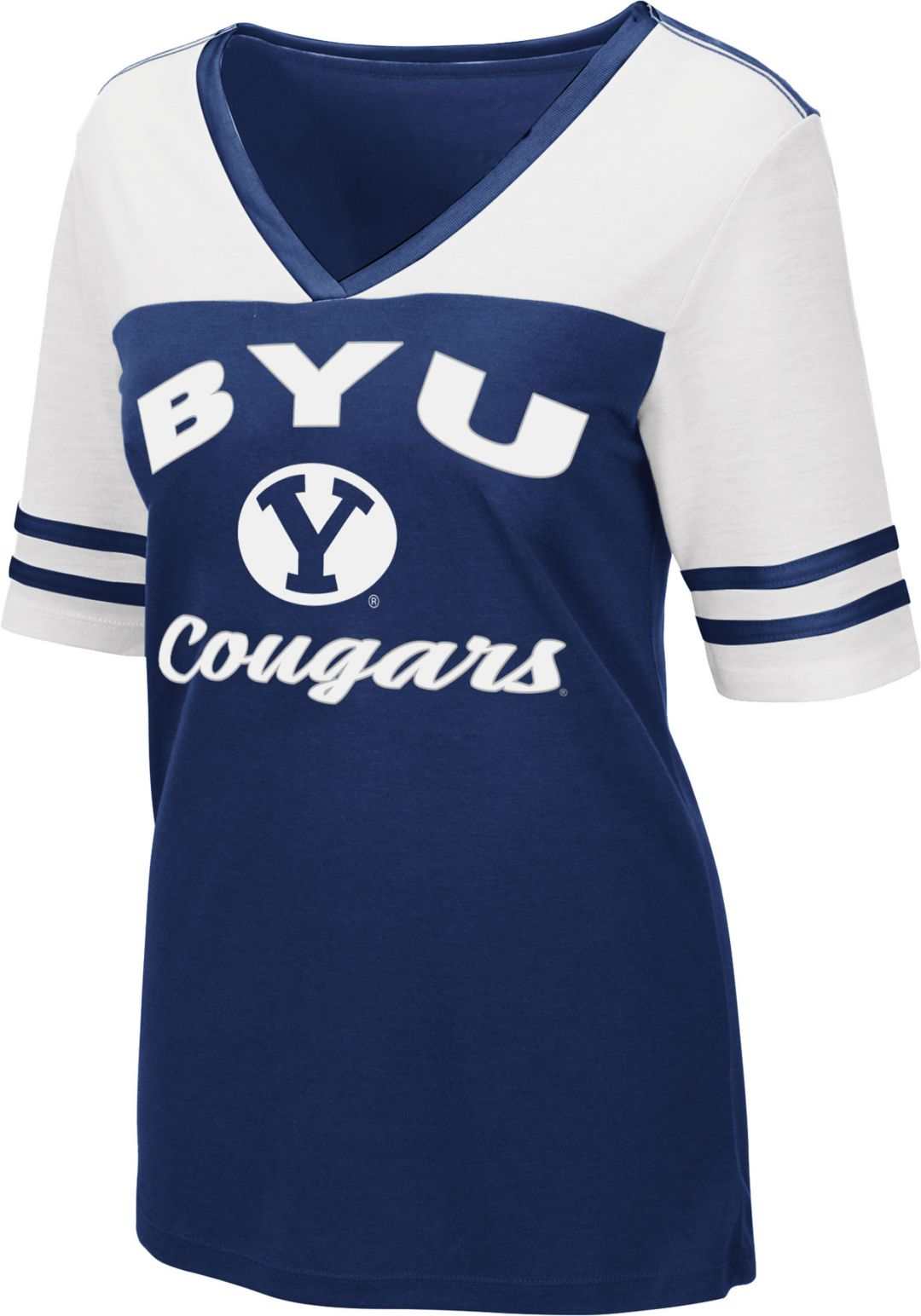 buy popular e9c49 13e4c Colosseum Women's BYU Cougars Blue/White Samantha T-Shirt