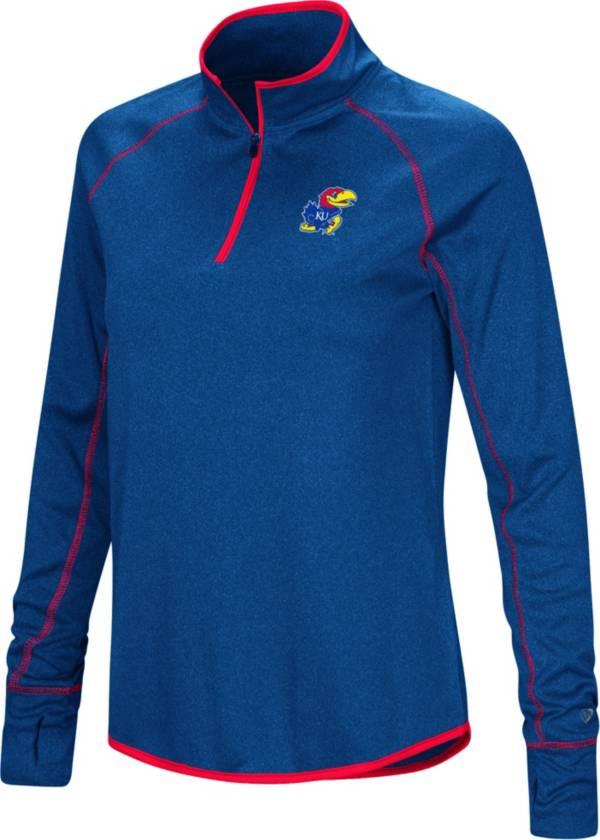 Colosseum Women's Kansas Jayhawks Blue Stingray Quarter-Zip Shirt product image