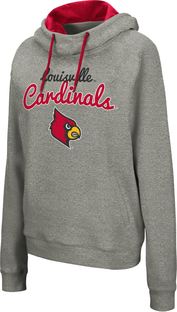 Colosseum Women's Louisville Cardinals Grey Studio Funnel Pullover Hoodie product image