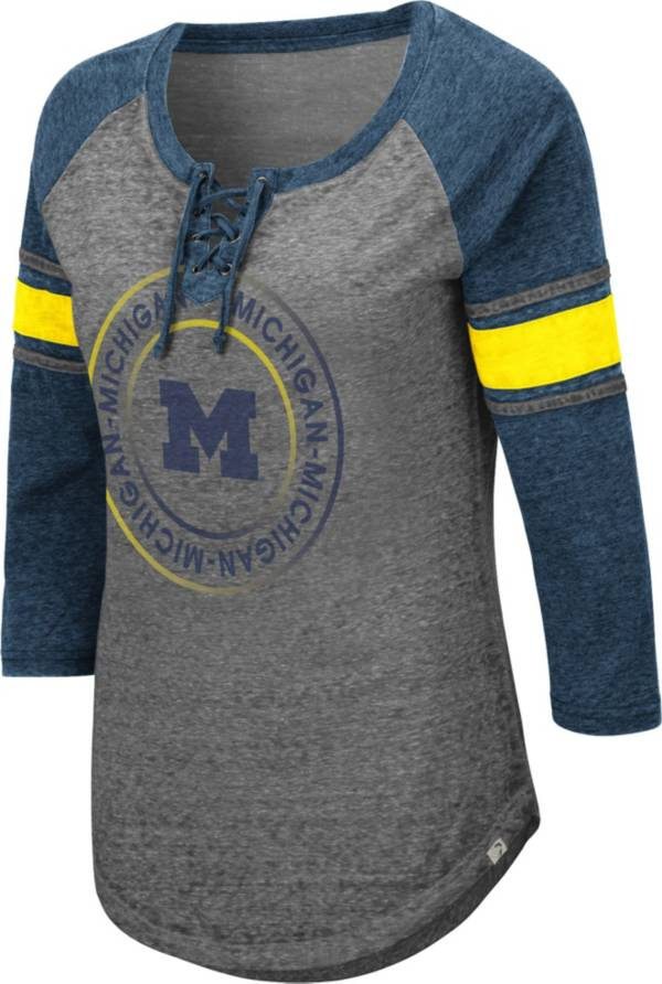 Colosseum Women's Michigan Wolverines Grey Carrie Long Sleeve T-Shirt product image