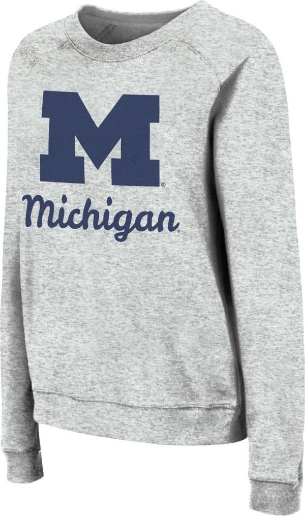 Colosseum Women's Michigan Wolverines Grey Tiger Pullover Sweatshirt product image
