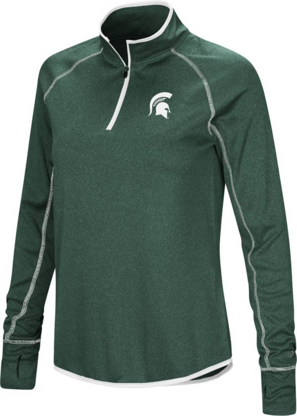 Colosseum Women's Michigan State Spartans Green Stingray Quarter-Zip Pullover Shirt product image