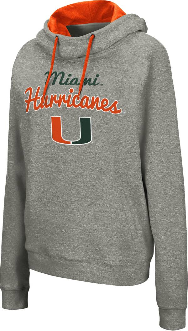 Colosseum Women's Miami Hurricanes Grey Studio Funnel Pullover Hoodie product image