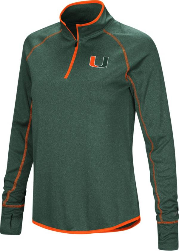 Colosseum Women's Miami Hurricanes Green Stingray Quarter-Zip Shirt product image