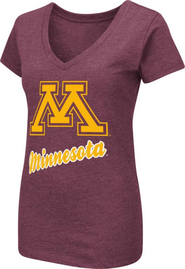 Colosseum Women's Minnesota Golden Gophers Maroon Dual Blend V-Neck T-Shirt product image