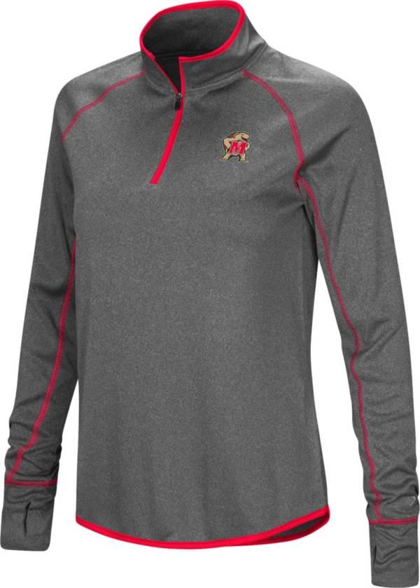 Colosseum Women's Maryland Terrapins Grey Stingray Quarter-Zip Shirt product image